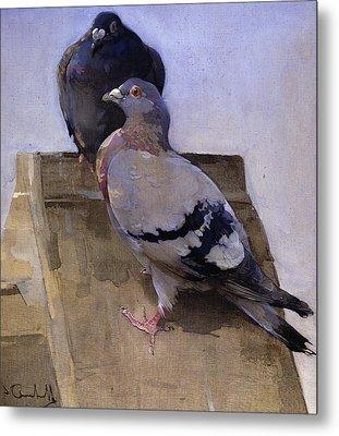 Pigeons On The Roof Metal Print by Joseph Crawhall