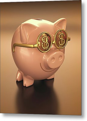Piggy Bank Wearing Glasses Metal Print