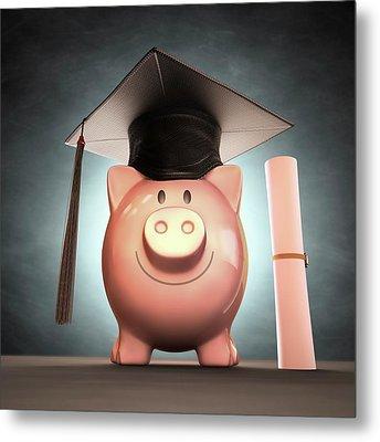 Piggy Bank Wearing Graduation Cap Metal Print