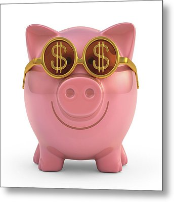Piggy Bank With Sunglasses Metal Print