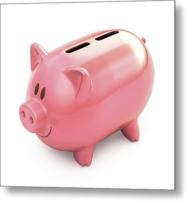 Piggy Bank With Two Slots Metal Print