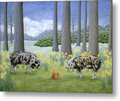 Piggy In The Middle Metal Print by Ditz