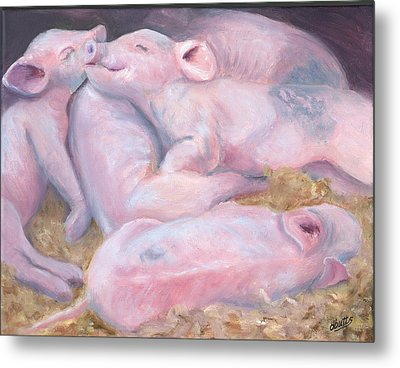 Piglets At Peace Metal Print by Deborah Butts