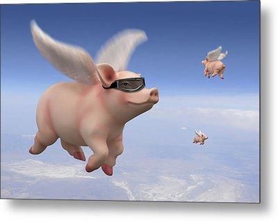 Pigs Fly Metal Print