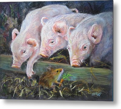 Metal Print featuring the painting Pigs Vs Mouse by Jieming Wang
