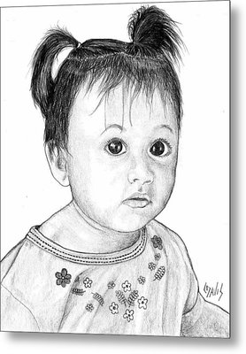 Metal Print featuring the drawing Pigtails 2 by Lew Davis