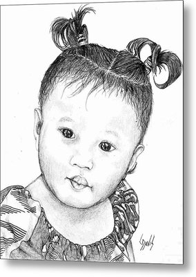 Metal Print featuring the drawing Pigtails by Lew Davis