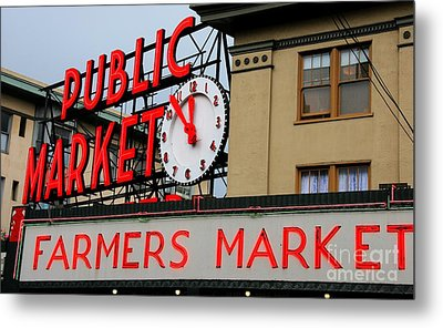 Pike Place Farmers Market Sign Metal Print