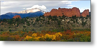 Metal Print featuring the photograph Pikes Peak Fall Pano by Ronda Kimbrow