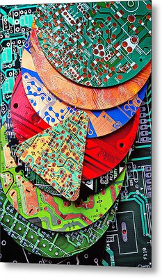 Pile Of Circuit Boards Metal Print by Garry Gay