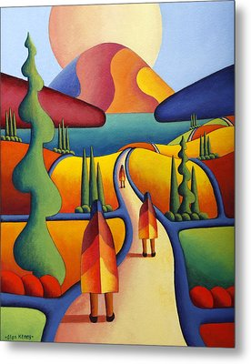 Pilgrimage To The Sacred Mountain With 3 Figures  Metal Print by Alan Kenny
