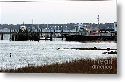 Pilot At The Dock Metal Print