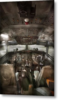 Pilot - Boeing 707  - Cockpit - We Need A Pilot Or Two Metal Print by Mike Savad