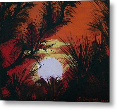 Pine Branch Silhouette Metal Print by Sharon Duguay