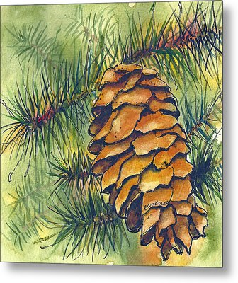 Metal Print featuring the painting Pine Cone by Terry Banderas
