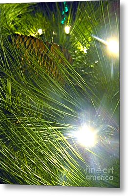 Metal Print featuring the photograph Pine Cone With Lights by Utopia Concepts