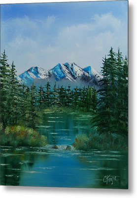 Metal Print featuring the painting Pine Lake by Chris Fraser