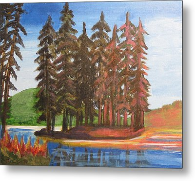 Metal Print featuring the painting Pine Tree Island by Diana Riukas