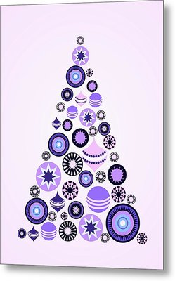 Pine Tree Ornaments - Purple Metal Print by Anastasiya Malakhova