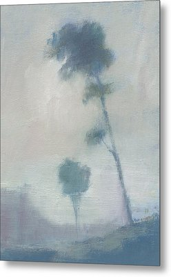 Pine Trees Through The Twilight Mist Metal Print by Alan Daysh
