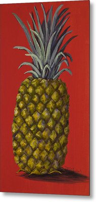 Pineapple On Red Metal Print by Darice Machel McGuire