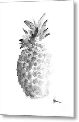 Pineapple Painting Watercolor Art Print Metal Print