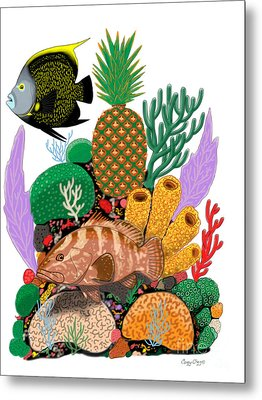 Pineapple Reef Metal Print by Carey Chen