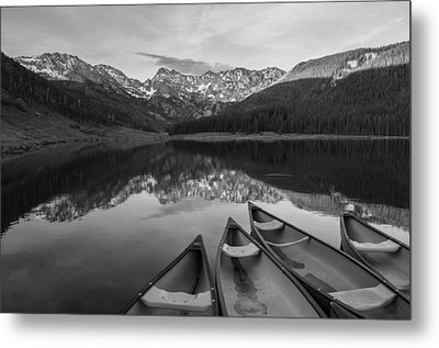 Piney Lake Black And White Metal Print by Aaron Spong