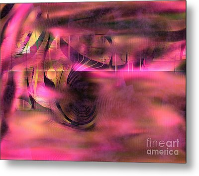 Metal Print featuring the painting Pink Abstract Nature by Yul Olaivar