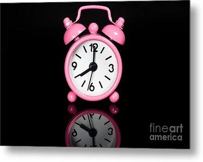 Pink Alarm Clock Metal Print by Niphon Chanthana