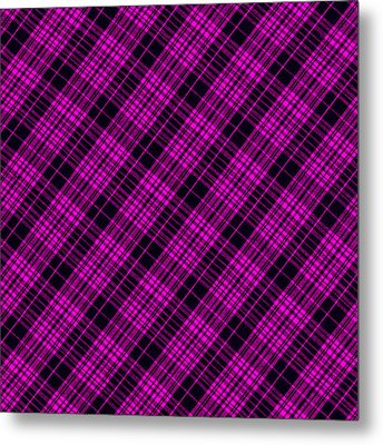 Pink And Black Plaid Cloth Background Metal Print