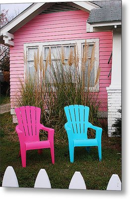 Pink And Blue Chairs By Jan Marvin Metal Print
