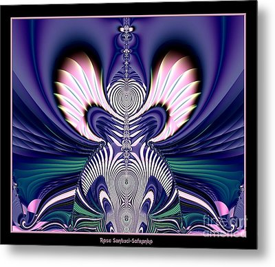 Pink And Blue Guardian Angel Fractal 99 Metal Print by Rose Santuci-Sofranko