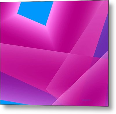 Pink And Blue Mixed Geometrical Art Metal Print by Mario Perez