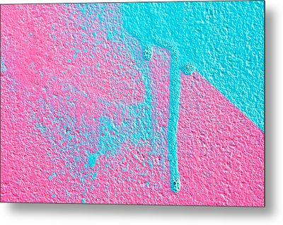 Pink And Blue Paint Metal Print