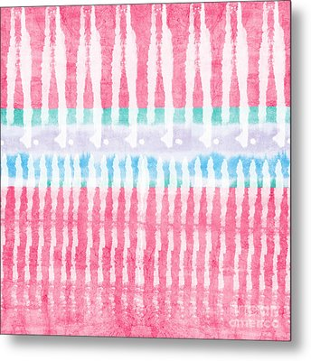Pink And Blue Tie Dye Metal Print by Linda Woods