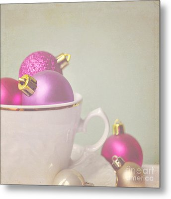 Pink And Gold Christmas Baubles In China Cup. Metal Print by Lyn Randle