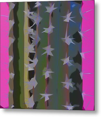Pink And Green Cactus Collage Metal Print by Carol Leigh