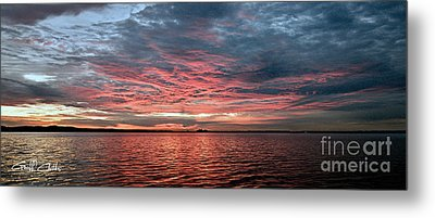 Pink And Grey At Sea - Sunrise Panorama  Metal Print by Geoff Childs
