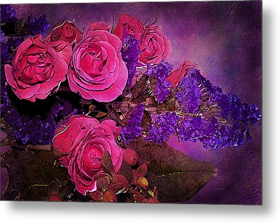 Pink And Purple Floral Bouquet Metal Print by Phyllis Denton