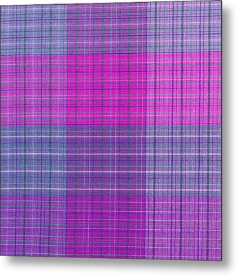 Pink And Purple Plaid Textile Background Metal Print