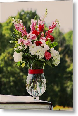 Pink And White Bouquet In Sepia Metal Print