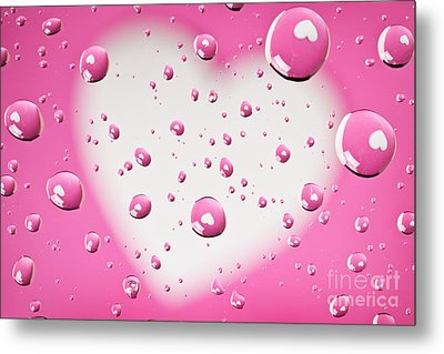 Pink And White Heart Reflections In Water Droplets Metal Print by Sharon Dominick
