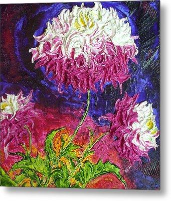 Pink And White Mums Metal Print by Paris Wyatt Llanso
