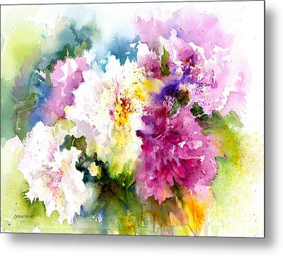 Pink And White Peonies Metal Print by Christy Lemp
