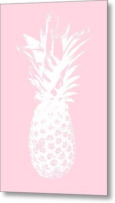 Pink And White Pineapple Metal Print by Linda Woods