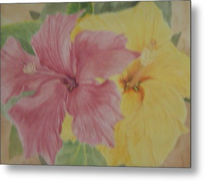 Metal Print featuring the painting Pink And Yellow Hibiscus by Hilda and Jose Garrancho
