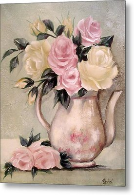 Pink And Yellow Roses In Teapot Painting Metal Print
