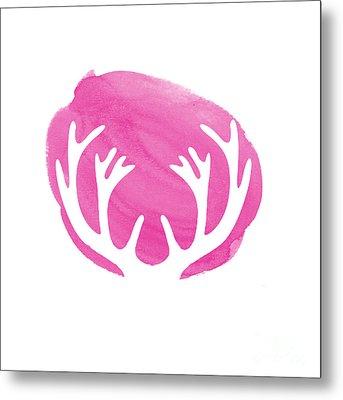 Pink Antlers Metal Print