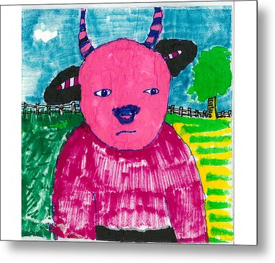 Metal Print featuring the drawing Pink Baby Bull by Don Koester
